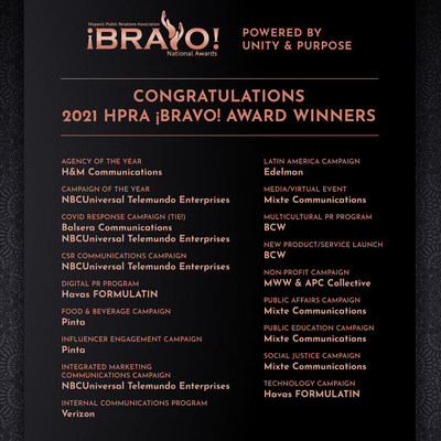 La Asociación Hispana de Relaciones Públicas anuncia los ganadores de los Premios Nacionales ¡Bravo! 2021 Award Winners (PRNewsfoto/Hispanic Public Relations Association)
